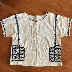 Madewell Kara Embroidered crop shirt